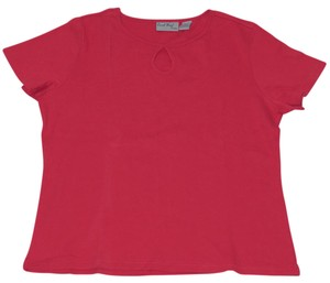 Coral Bay Key Hole Cap Sleeve T Shirt Red