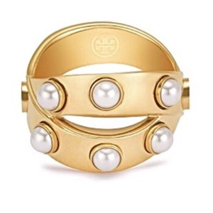 Tory Burch NWT Tory Burch Gold Tone Double Wrap Pearl Ring