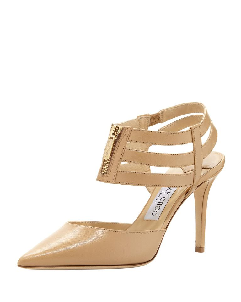 37ef90066dc Jimmy Choo Nude New Gemma Pointed Zip Front Pump Sandals Size US 12 ...