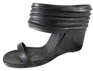 Rick Owens Sandals Leather Ankle Strap Black Wedges