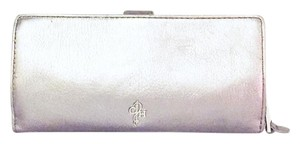 Cole Haan metallic silver leather cole haan signature long wallet blue interior
