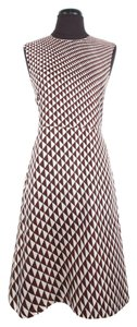 Céline short dress White & Brown Silk Triange Print on Tradesy