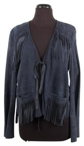 Elizabeth and James Suede Fringe Navy Jacket