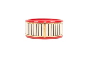 Fendi Red Enamel & Wood Bangle
