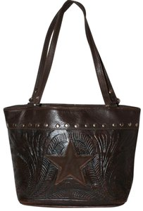 American West Eclectic Boho Classic Leather Studded Tote in Brown