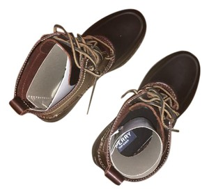 Sperry Snow Rain New Leather Amaretto/Black Boots