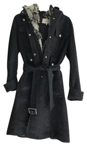 Laundry by Shelli Segal Wool Trench Belted Fur Military Fur Coat