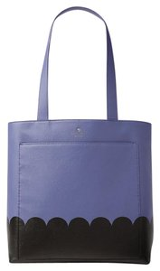Kate Spade Leather Andrea Lita Street Scallop Tote in Oyster Blue/Black
