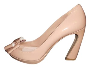 Miu Miu Prada Platform Patent Leather Open Toe Nude Pumps