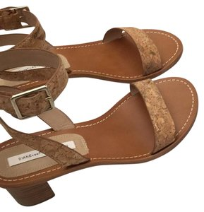 Diane von Furstenberg tan leather and cork wrapped light tan leather Sandals