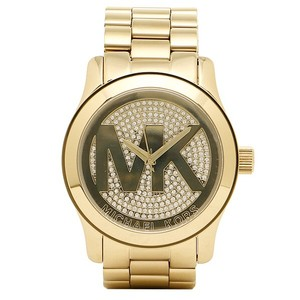 Michael Kors Michael Kors 86 Women's Goldtone Oversized Logo Runway Watch mk5706