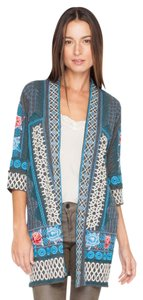 Johnny Was Cotton 3/4 Sleeve Embroidered Cardigan