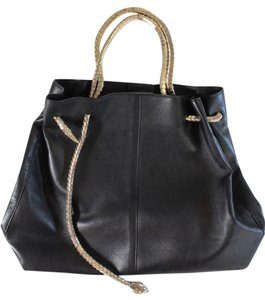 Roberto Cavalli Leather Snake Tote in Black