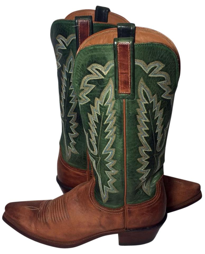 34f92c736e4 Lucchese Green 1883 Brown Leather Western Cowgirl Women's Boots/Booties  Size US 7 Regular (M, B) 51% off retail