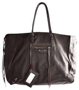 Balenciaga Leather Papier Tote in Brown