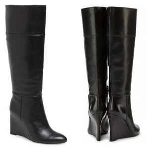 Tory Burch Wedge Knee High Leather Size 8 black Boots
