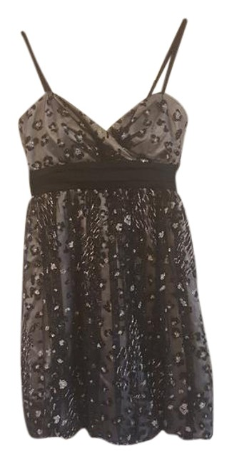 Item - Black and Gray Lining Spaghetti Strap Party Mid-length Formal Dress Size 10 (M)