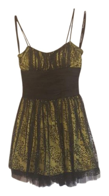 Item - Black and Lime Green Gray Spaghetti Strap Party Short Formal Dress Size 2 (XS)