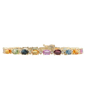 Fashion Strada 13.57CTW Natural Sapphire And Diamond Bracelet In 14K Yellow Gold