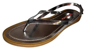 Prada Flat Patent Leather Criss Cross Silver Sandals