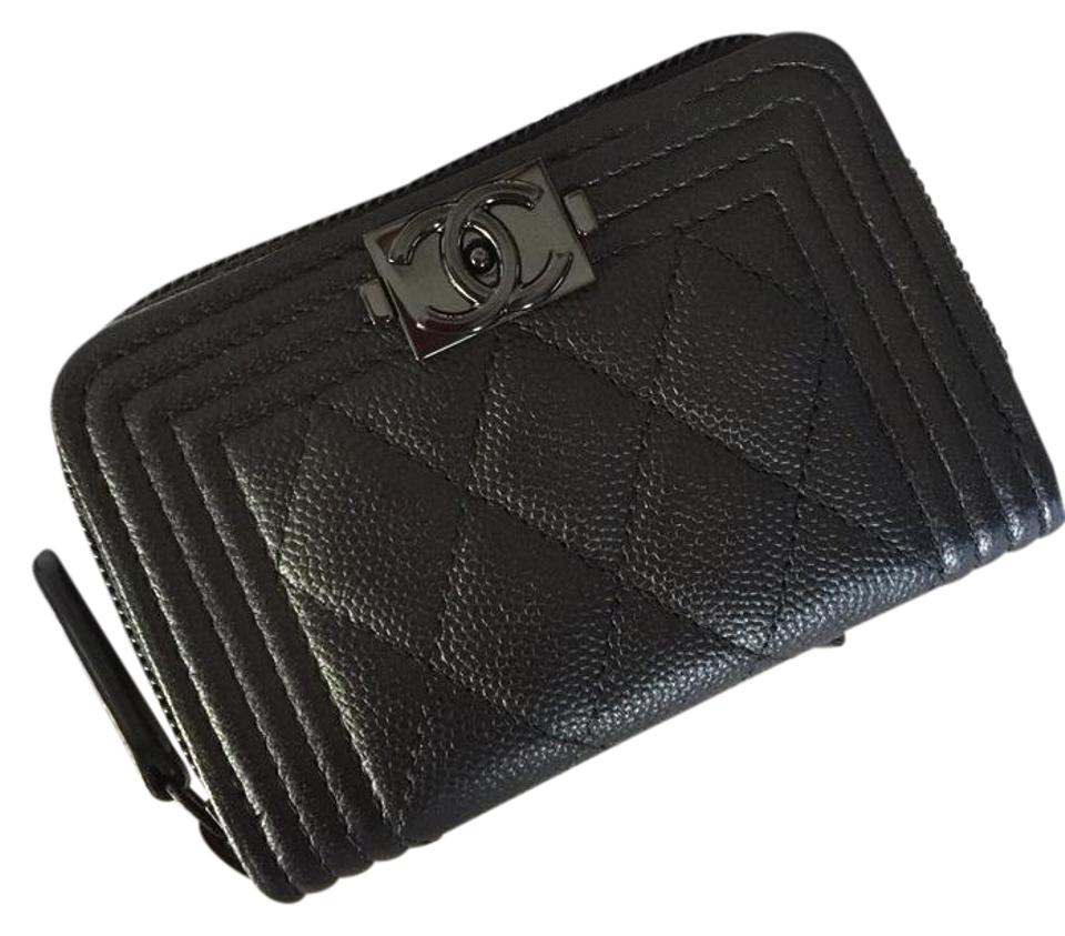 9b1b2f59417868 Chanel BINB 17S So Black Quilted Boy O Zip Coin Purse Card Holder Case  Wallet Image ...
