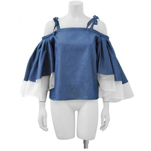 Gracia Top Denim blue and white