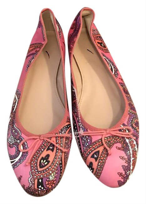 Item - Pink Multi Leather Ballet In Paisley F5514 Flats Size US 7 Regular (M, B)