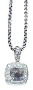 David Yurman Petite Albion Pendant Necklace with white topaz and Diamonds