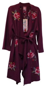 Johnny Was Draped Cotton Embroidered Tie Cardigan