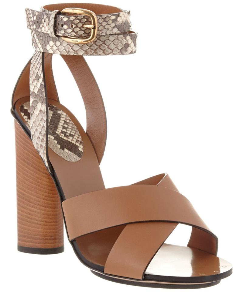 e77a7a6e7 Gucci New Candy Python   Leather Ankle Strap Sandals Size US 8.5 Regular  (M