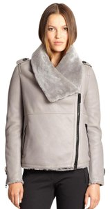 Burberry Moto Shearling Biker Leather Pale Grey Jacket