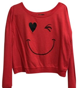 Forever 21 Crop Crop Happy Happy Face Sweatshirt