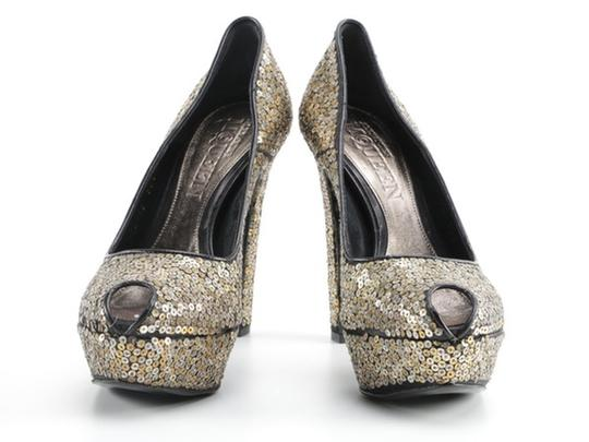 Alexander McQueen Sequin Leather black gold silver Platforms Image 1