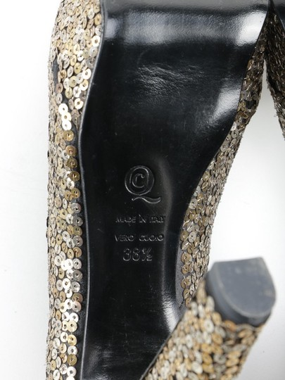 Alexander McQueen Sequin Leather black gold silver Platforms Image 10