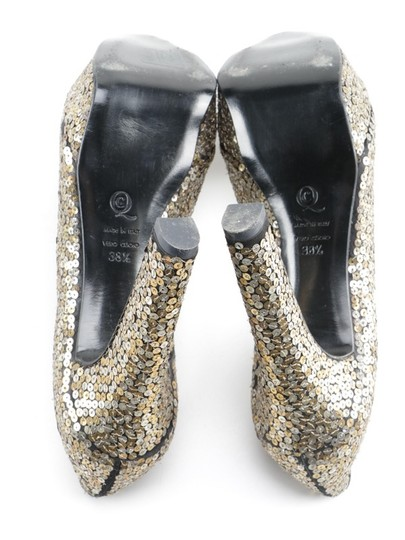 Alexander McQueen Sequin Leather black gold silver Platforms Image 11