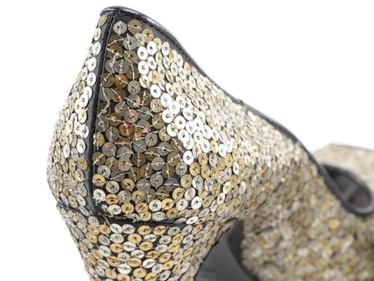 Alexander McQueen Sequin Leather black gold silver Platforms Image 2