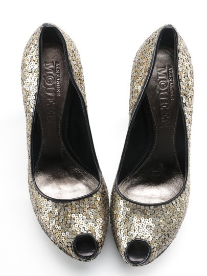 Alexander McQueen Sequin Leather black gold silver Platforms Image 3