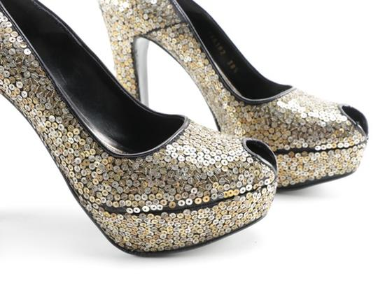Alexander McQueen Sequin Leather black gold silver Platforms Image 4