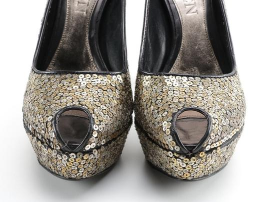 Alexander McQueen Sequin Leather black gold silver Platforms Image 8