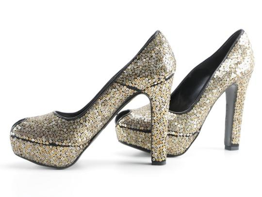 Alexander McQueen Sequin Leather black gold silver Platforms Image 9