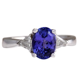 Fashion Strada 2.55CTW Natural Blue Tanzanite And Diamond Ring In 14K White Gold