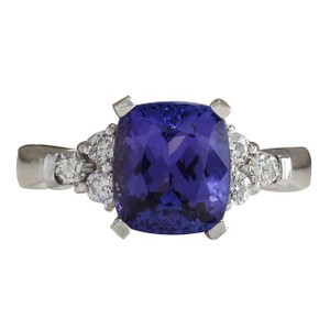 Fashion Strada 3.49CTW Natural Blue Tanzanite And Diamond Ring 14K Solid White Gold