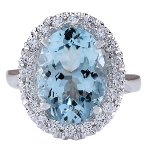 Fashion Strada 6.60CTW Natural Blue Aquamarine And Diamond Ring 14K Solid White Gold