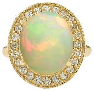 Fashion Strada 5.60CTW Natural Opal And Diamond Ring 14K Solid Yellow Gold