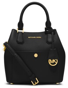 Michael Kors Greenwich Medium Saffiano Leather 889154025547 30s5ggrt6u Satchel in Black / Optic White