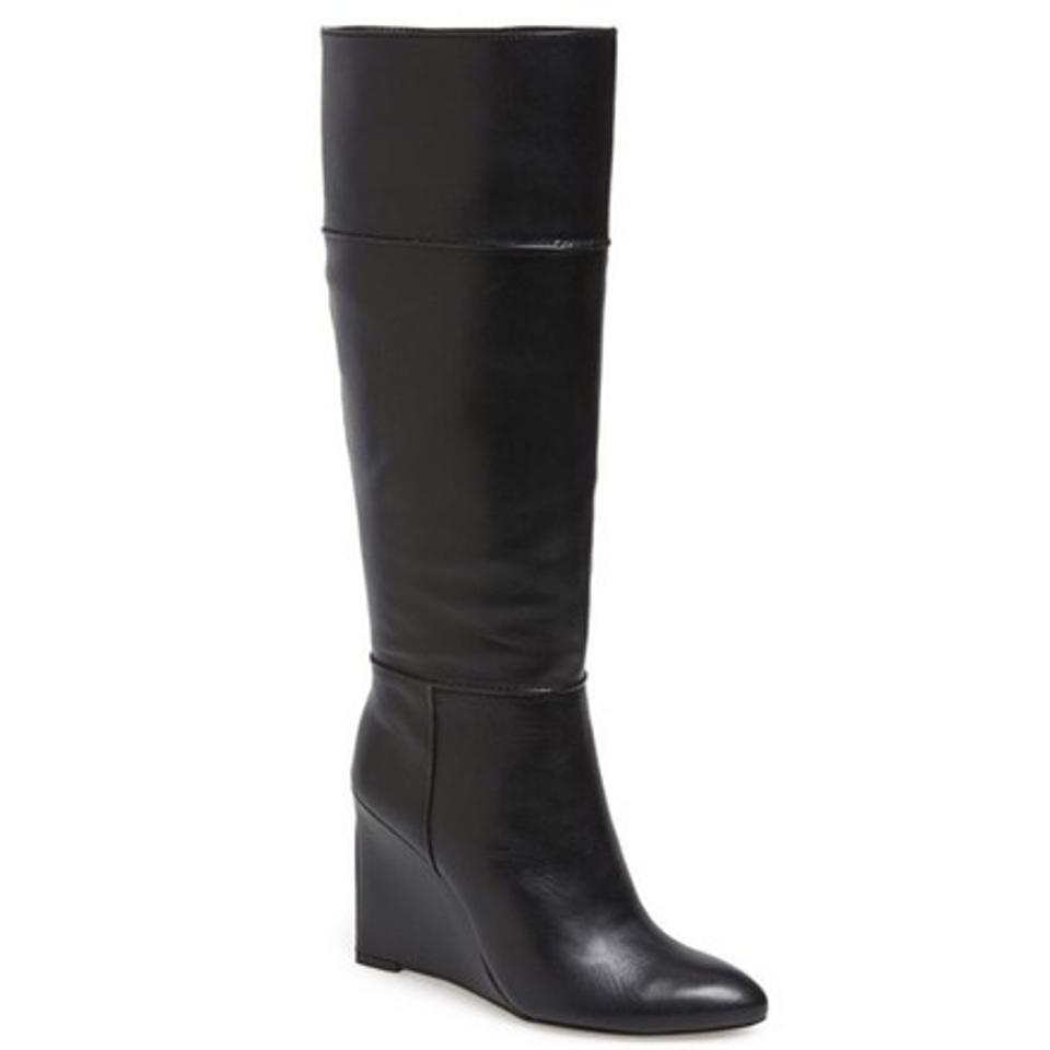 3041ddedfa88 Tory Burch Wedge Knee High Leather Size 8.5 black Boots Image 5. 123456