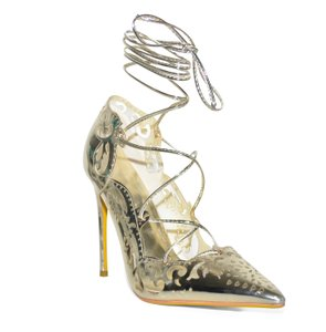 Lonia Laser Print Big Size Lace Wedding Patent Leather gold Pumps