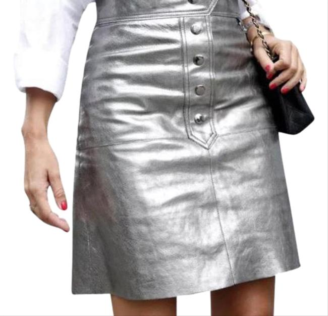 Item - Silver Aged Metallic Leather Skirt Size 2 (XS, 26)