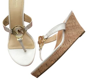Michael Kors white with gold Sandals