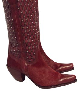 Donald J. Pliner Cowgirl Cowboy Leather Fur red Boots